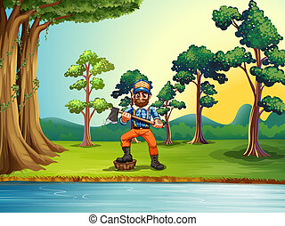 A lumberjack at the riverbank holding an axe