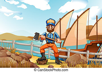 A lumberjack at the riverbank with a ship