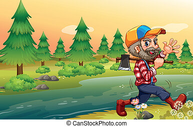 A lumberjack carrying an axe while walking