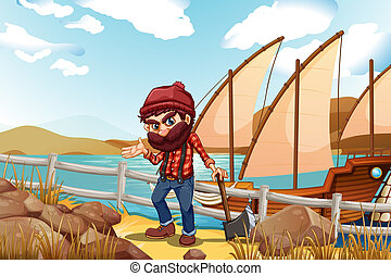 A lumberjack holding an axe near the sea