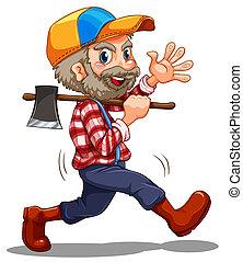 A lumberjack - Illustration of a lumberjack on a white...