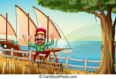 A lumberjack near the fence at the riverbank with a ship