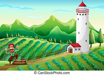 Illustration of a lumberjack near the tower at the farm