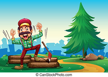 A lumberjack shouting while chopping the woods