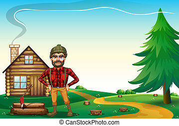 A lumberjack standing in front of the wooden farmhouse