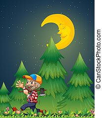A lumberjack walking happily while carrying an axe -...