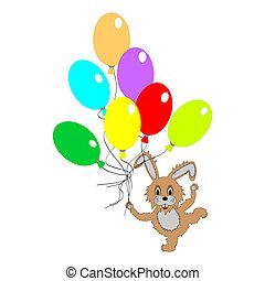 a, lustiges, kanninchen, mit, viele, farbenprächtige luftballons