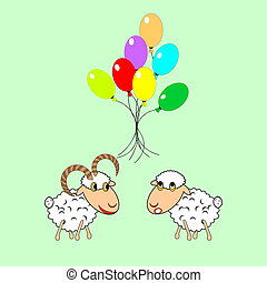 a, lustiges, karikatur, schafe, und, ram, mit, viele, farbenprächtige luftballons