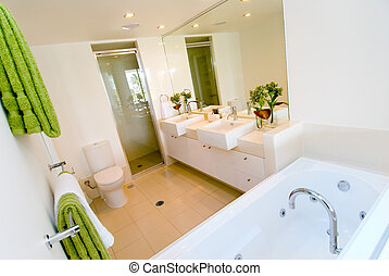 a, luxe, moderne, salle bains