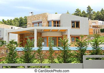 a, luxo, vila, e, gramado verde, halkidiki, grécia