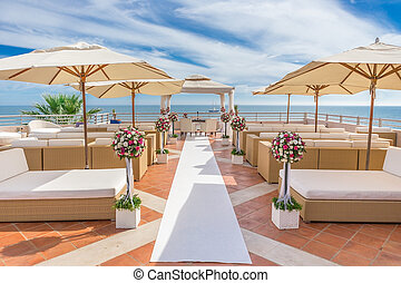 A luxury platform for wedding ceremony. On the coast.
