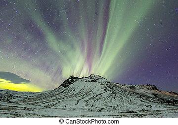a, luz norte, aurora boreal