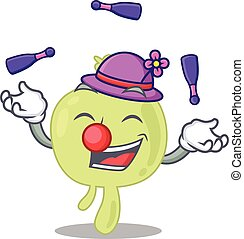 A lymph node cartoon design style succeed playing juggling. ...