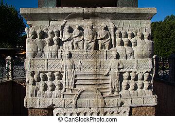 a, márvány, talapzat, közül, theodosius, obeliszk