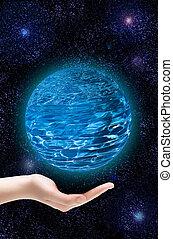 a, mão, de, a, pessoa, apoios, um, planeta, em, a, universo