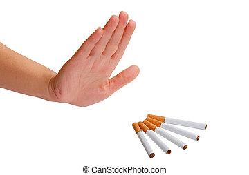 a, mão, rejects, cigarette., parada, smoking.