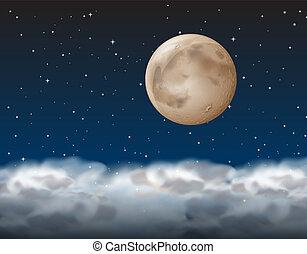a, måne, ovanför, den, moln
