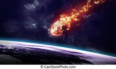 a, météore, incandescent, comme, il, entrer, les, earth's,...