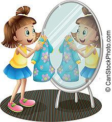 a, m�dchen, anschauen, der, spiegel, mit, sie, kleiden
