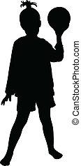 a, m�dchen, halten kugel, silhouette, vec