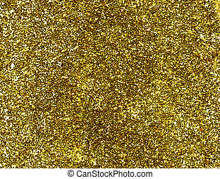 A macro close up of a gold glitter background.