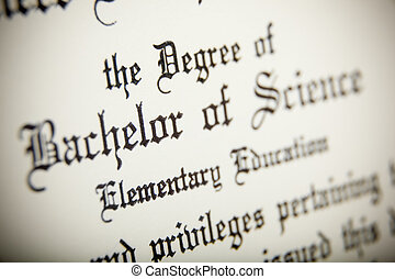 A macro of a Bachelor of Science Degree - A macro shot of a...