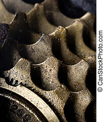 A macro of dirty bicycle gears