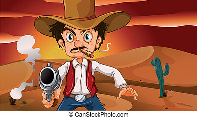 A mad cowboy with a weapon