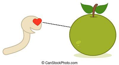 a maggot looking at an apple