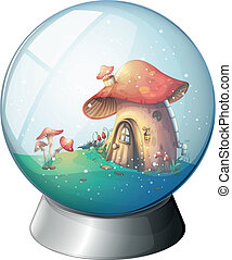 A magic ball with a mushroom house