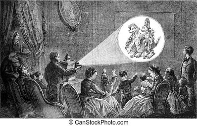 A magic lantern representation, vintage engraving. - A magic...