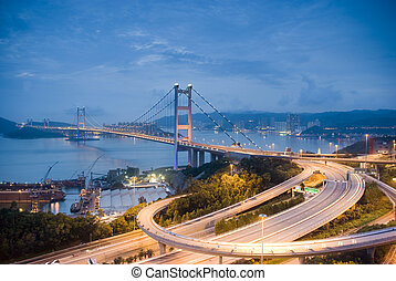 A magical evening of Hong Kong Tsing Ma Bridge .