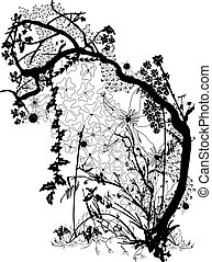 A Magical Forest Scene - A vectorised one colour magical ...