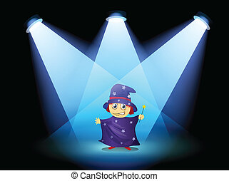 A magician standing at the stage with spotlights