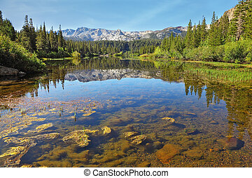 a, magnífico, lago montanha
