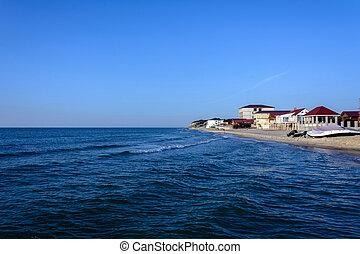 a, magnífico, paisagem, de, a, mar negro, costa, em, ucrânia, com, a, hotel