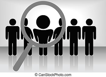 A magnifying glass finds, selects or inspects a person in a line of people: search & choose for employment, recognition, promotion, hire, etc