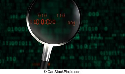 """""""A magnifying glass scans an abstract binary code. """" - """" ..."""