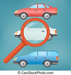 A magnifying glass selects a car.