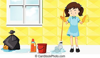 A maid cleaning house