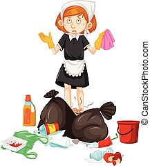 A Maid with Dirty Trash