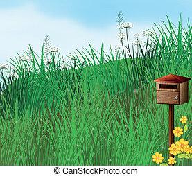 A mailbox near the hills