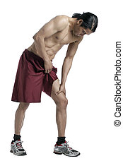 a male athlete with knee pain