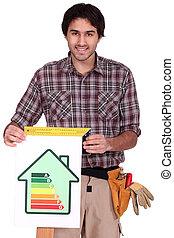 A male carpenter promoting energy savings.