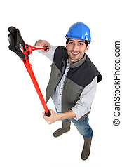A male construction worker using pliers.