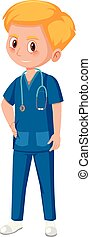 A male medical assistant illustration