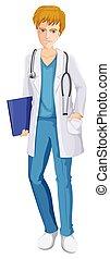 A Male Nurse on White Background