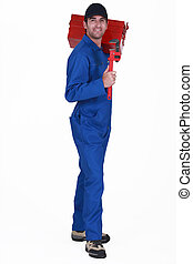 A male plumber.