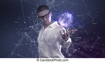 A male scientist in a white shirt holds an abstract ball in his hands against a background of plexus