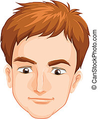 A male's face - Illustration of a male's face on a white...